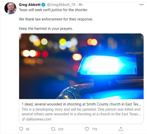 Tuit Greg Abbott tiroteo iglesia Texas