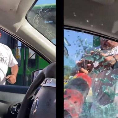 video chofer agrede conductor por pedirle no tire basura en la calle