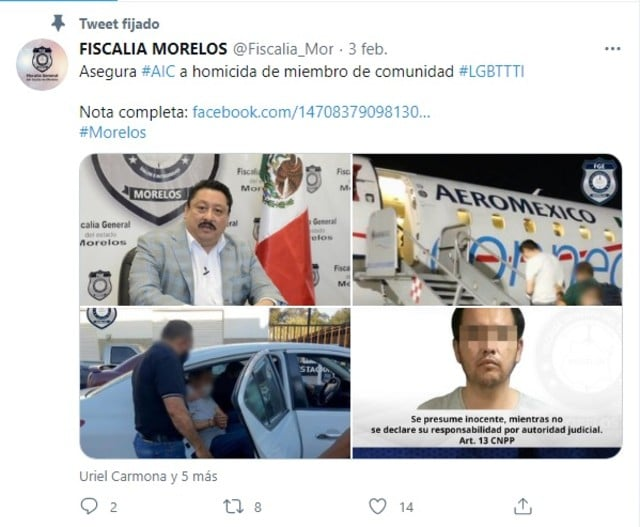 FGE Morelos asesinato miembro comunidad LGBTTTI