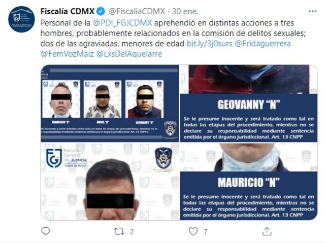 FGJCDMX detiene sujetos presunto abuso sexual dos abusaron menores de edad