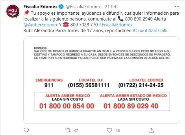Fiscalía Edonex Rubí desaparecida