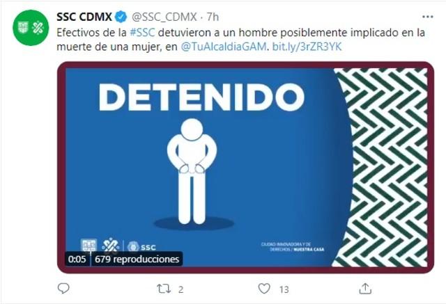 SSC CDMX feminicidio sujeto arrastraba cadáver mujer