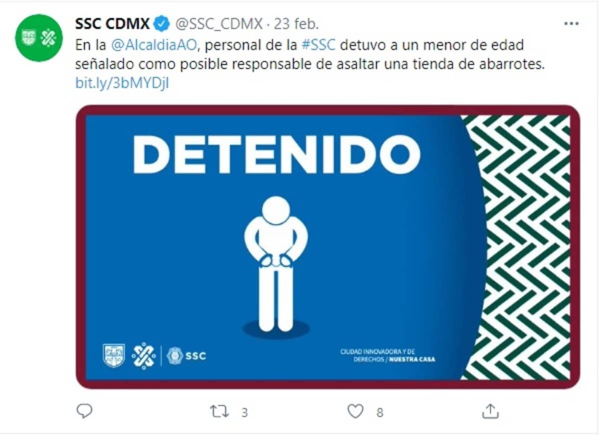 SSC CDMX niño asalto tienda de abarrotes