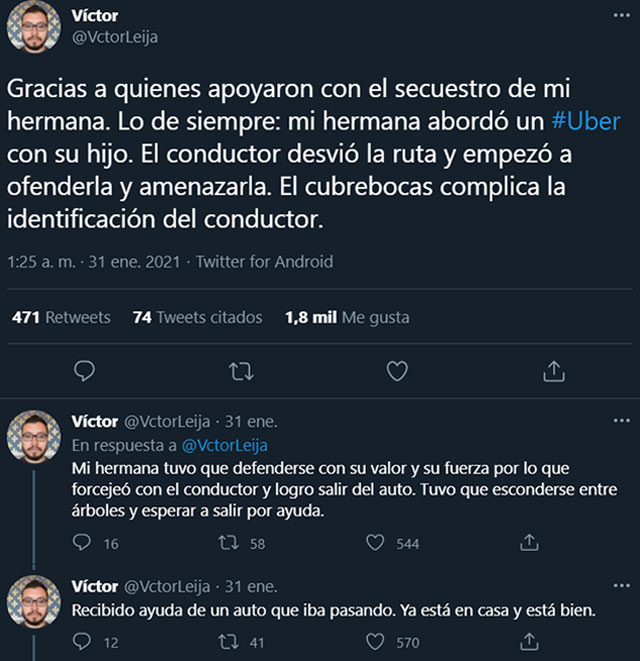 En la CDMX, una mujer evitó un secuestro en Uber mientras viajaba con su hijo; el chofer se desvió de la ruta pero logró escapar con su hijo