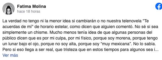 Fatima Molina reacciona a las críticas discriminatorias por su aspecto físico en la novela 'Te acuerdas de mi'