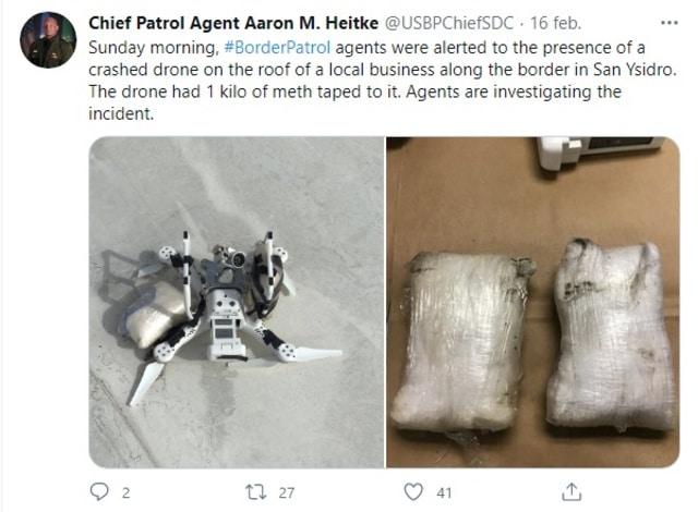 Patrulla fronteriza dron metanfetamina