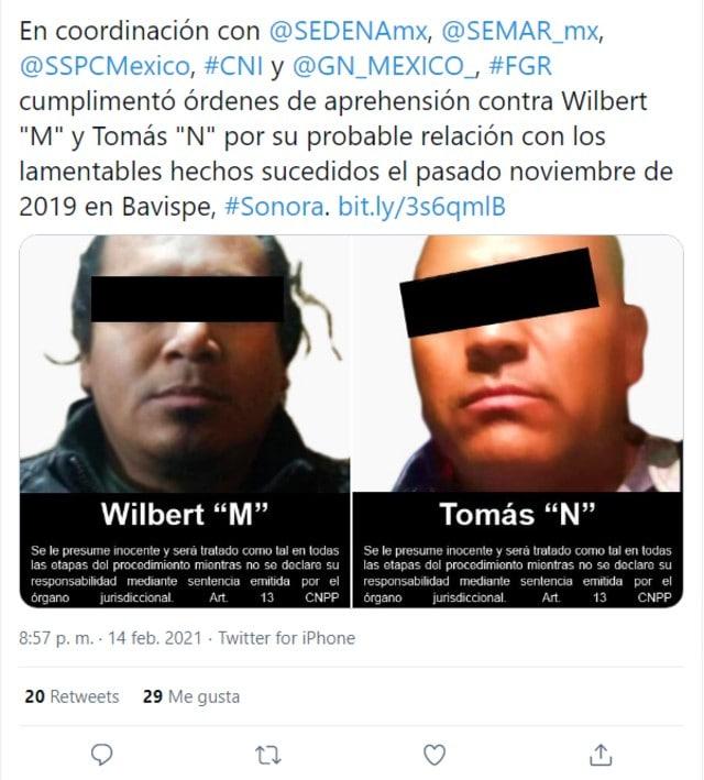 Presuntos autores materiales ataque LeBarón