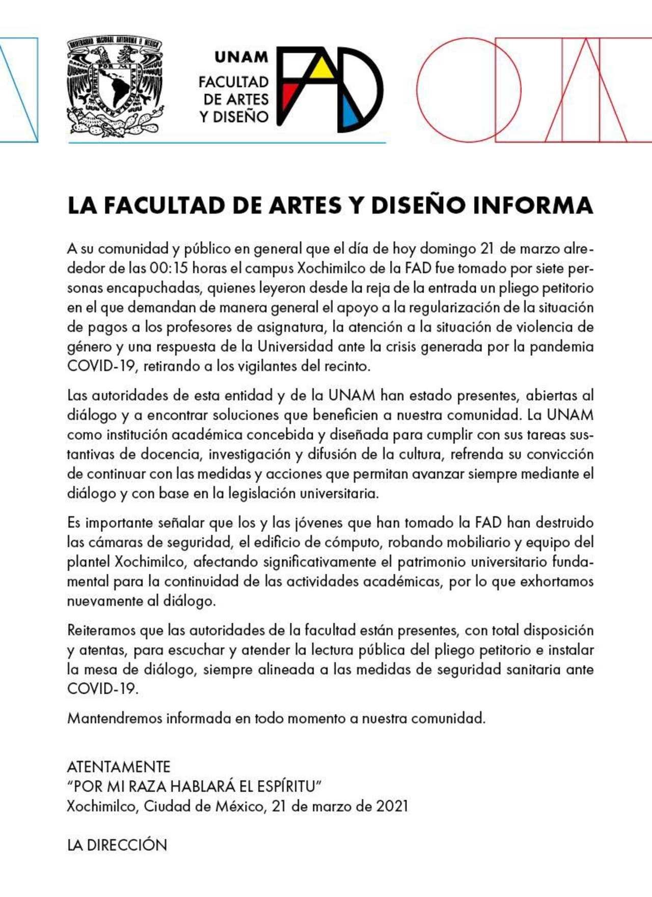 Encapuchados toman instalaciones Facultad de Artes y Diseño UNAM