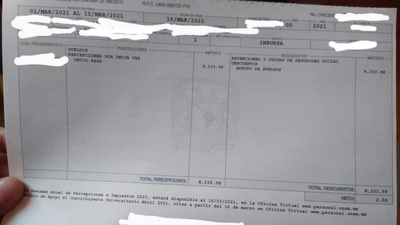Cheque 2 pesos UNAM