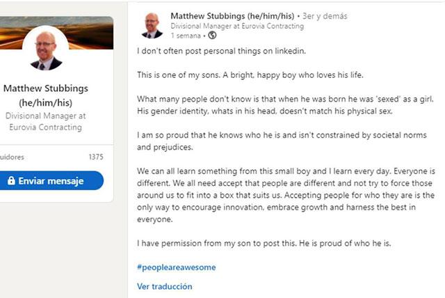 Papa defiende hijo trans LinkedIn