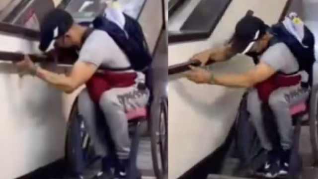 Video hombre en silla de ruedas en Metro CDMX