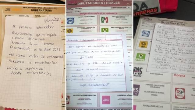 Familiares desaparecidos boletas electorales