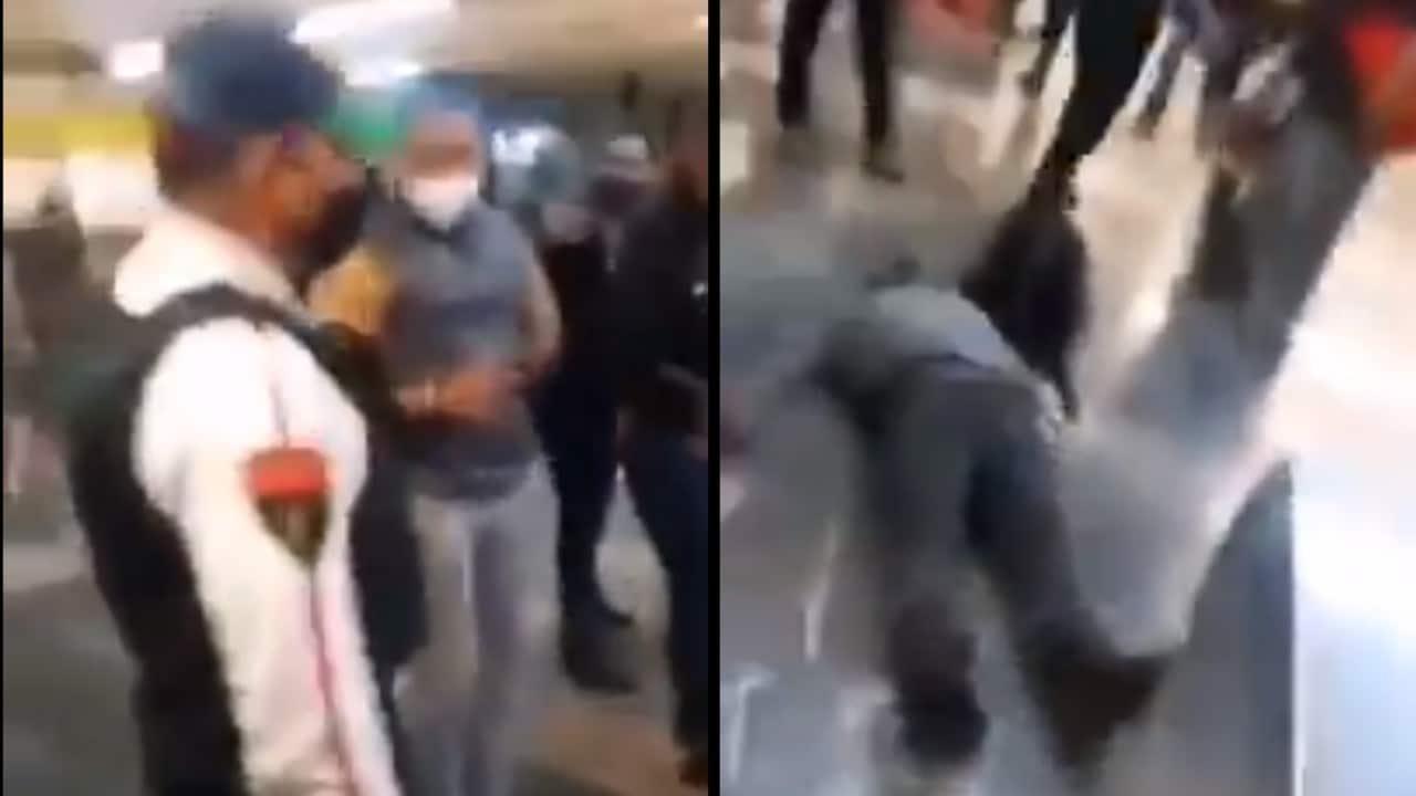 Policía golpea usuario metro CDMX