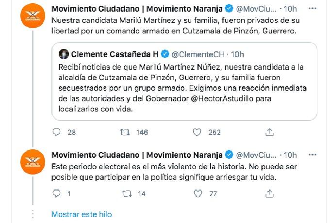 Candidata Marilú Martínez Secuestro Cutzamala de Pinzón Guerrero