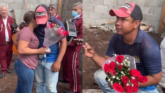 Albañil pide matrimonio en a obra donde trabaja y se vuelve viral