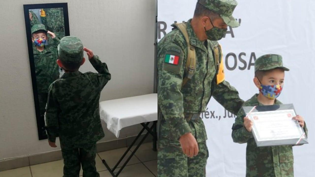 niño con autismo se convierte en soldado por un día