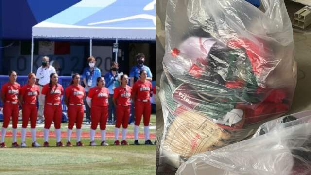 ugadoras de softbol tiran uniformes de México a la basura