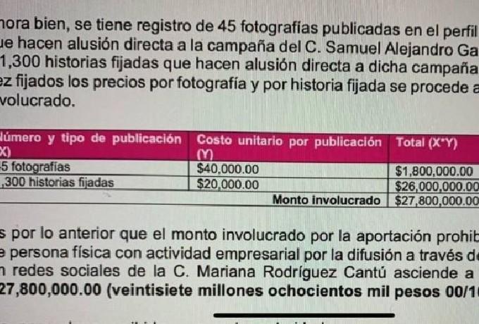 INE Multa Samuel García No pagar Campaña Esposa