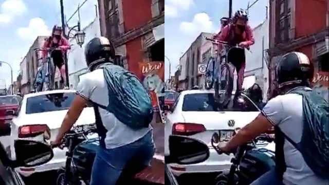Video: Ciclista pasa encima de carro con todo y bici por estacionarse en ciclovía