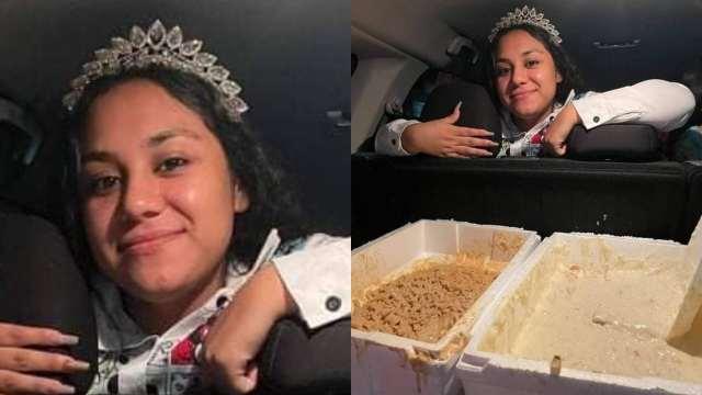 Quinceañera entrega comida en hospital