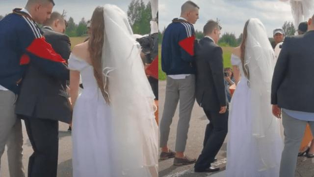 Novio llega cayéndose de borracho en su boda