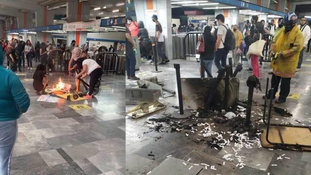 Encapuchadas encienden fogata en el Metro Cuatro Caminos