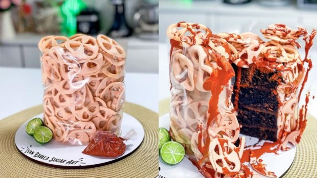 Crea pastel de chicharrones y se vuelve viral