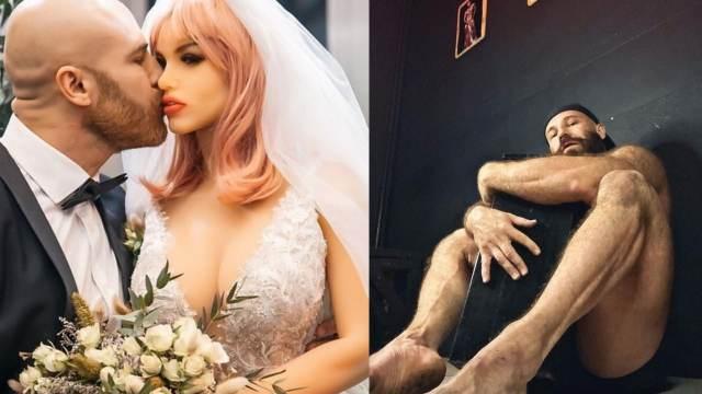 Fisicoculturista que se casó con una muñeca se enamora de un cenicero