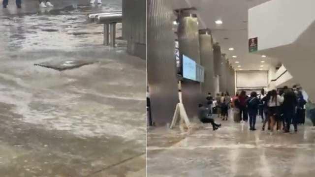 Un hombre resbala y golpea su cabeza por inundación en aeropuerto de la CDMX