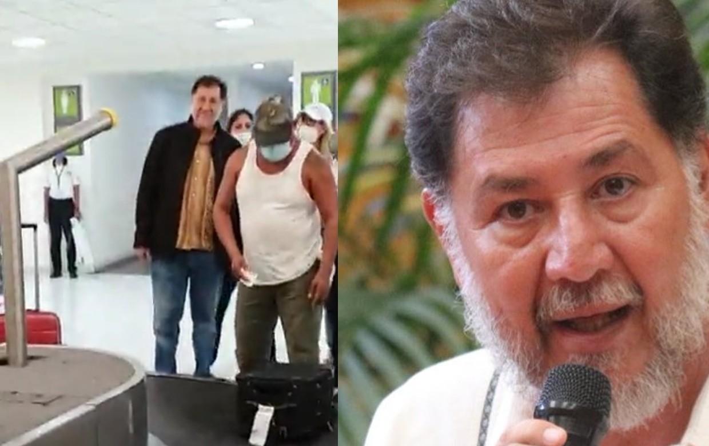"""""""¡Fuera!"""" le gritan a Fernández Noroña en el AICM por no traer cubrebocas; no es obligatorio en México, revira"""