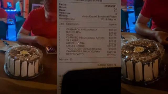 Restaurante cobró 100 pesos por guardar pastel