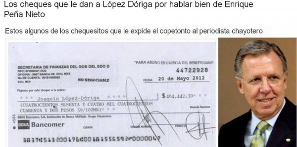 En las redes sociales circula la copia del cheque que le dan a Joaquin López Dóriga