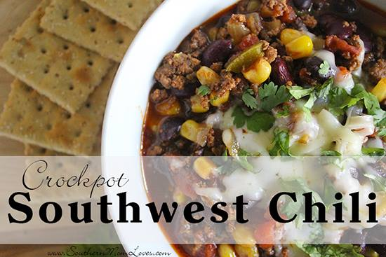Welcome to day 10 of 12 Days of Slow Cooker Meals! We hope you've enjoyed the recipes so far. Today we have a slow cooker Southwest Chili recipe.