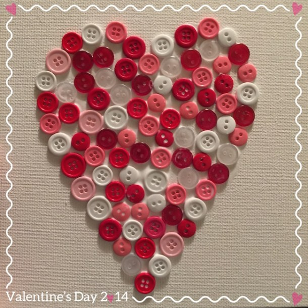 The canvas Heart Button Craft is another great Valentine's Day toddler craft. We made these for the Sunday School Teachers and they loved them.