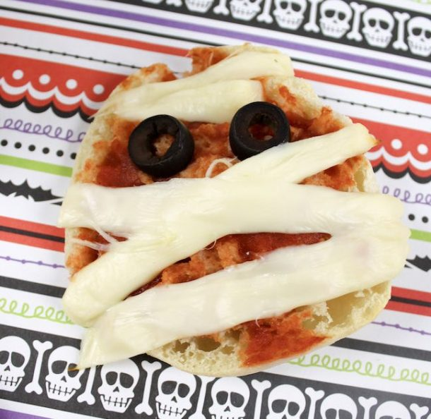 We just shared the Halloween Mummy Meatball recipe and today we have the Mummy Pizza recipe. It's super easy to make too.