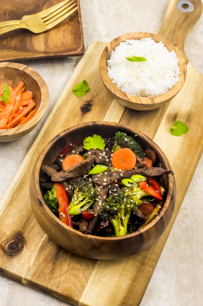Seeing as it's National Gluten Free Day, we are sharing another gluten free recipe. Beef Stir Fry with assorted veggies can also be made in a Gluten Free and Paleo version.