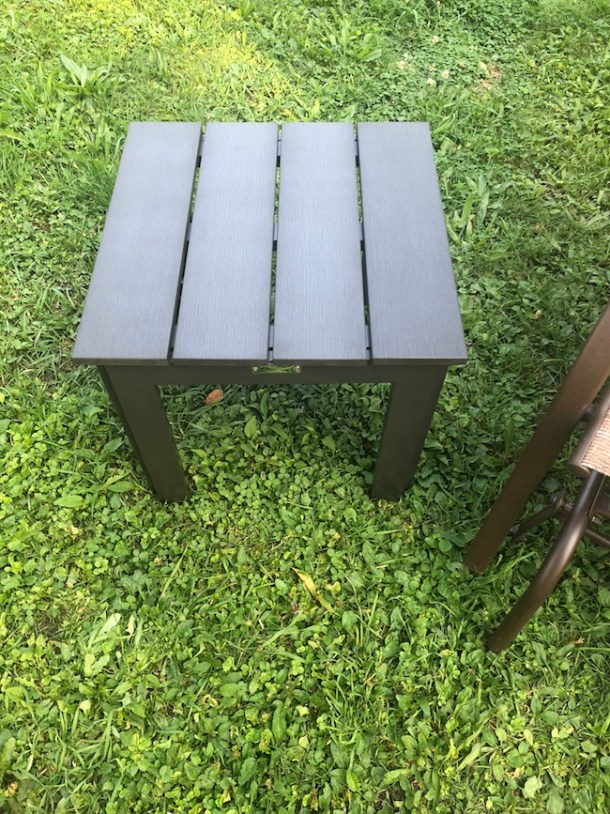 TheAbba Patio Recycled Wood Plastic Composite End Table ismore favorable and healthy for the environment and is made fromcomposite wood plastic.