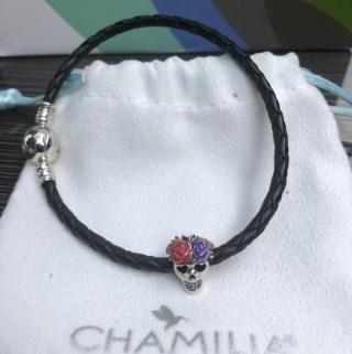 Chamilia Sugar Skull Halloween Jewelry Charm and Bracelet