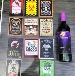 Spooky Halloween Wine Bottle Labels