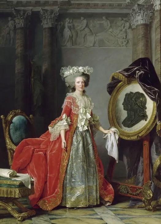 Adélaïde de France, fille de Louis XV, représentée par Adélaïde Labille-Guiard peignant les portraits en médaillon de ses parents et de son frère décédés (1787)