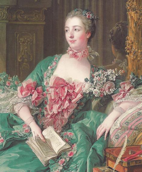 Détail du portrait de Madame de Pompadour par François Boucher