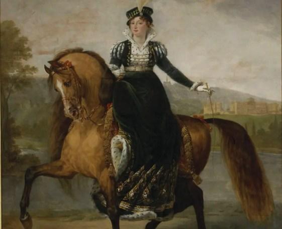 Détail d'un portrait équestre de Catherine de Wurtemberg, épouse de Jérôme, par Jean Gros