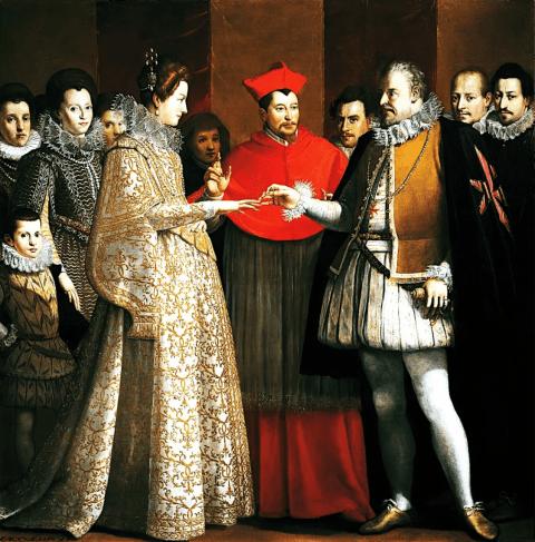 Détail d'un portrait par Jacopo Empoli, représentant le mariage par procuration de Marie de Médicis