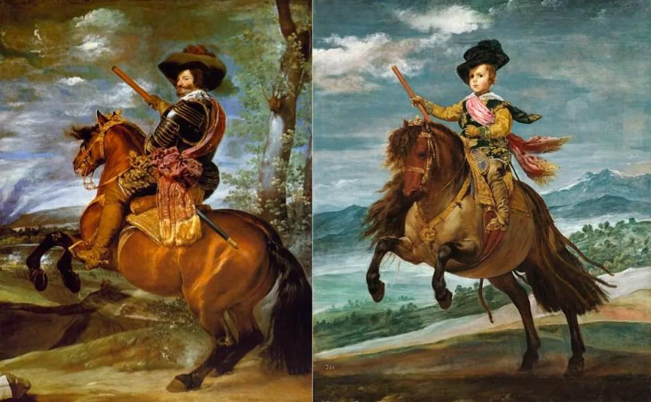 Portraits équestres du puissant comte d'Olivares et de l'héritier de la couronne d'Espagne, par Velasquez