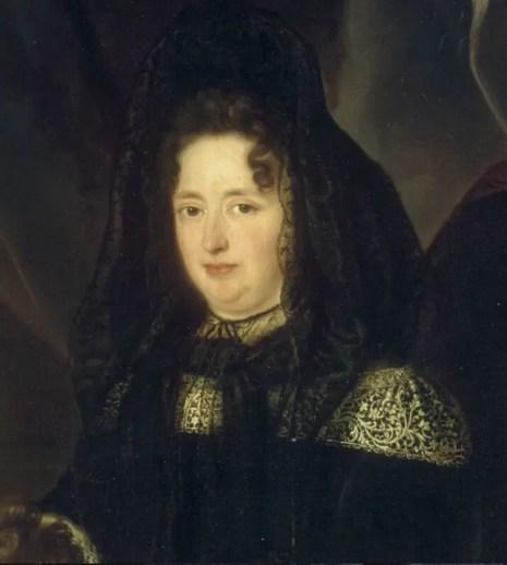 Détail du tableau peint par Louis Elle le Père en 1688, représentant Madame de Maintenon et sa nièce
