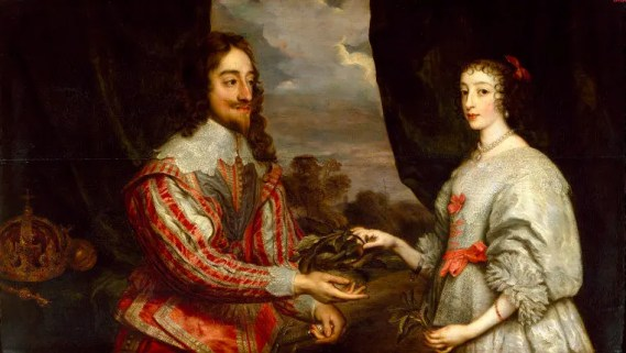 Portrait représentant Charles Ier et la Reine Henriette-Marie - Huile sur toile de Van Dyck, 1632