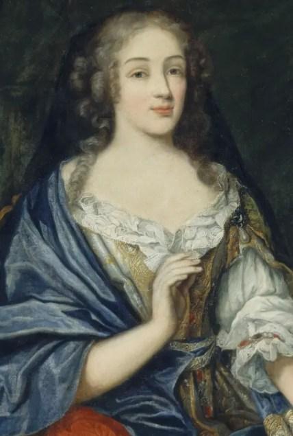 Détail d'un portrait de Louise par Jean Nocret - Musée du château de Versailles