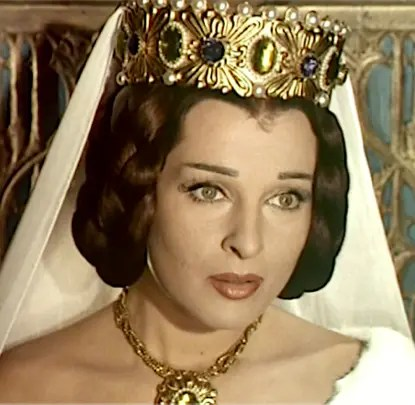 """Silvana Pampanini dans le rôle de Marguerite de Bourgogne, film """"la tour de Nesle"""" de 1955"""