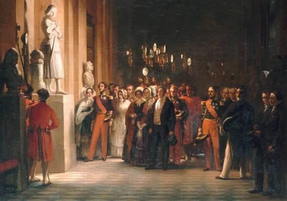 """Détail de Louis-Philippe sa famille visitant les Galeries Historiques du musée de Versailles, s'arrêtant devant la """"Jeanne d'Arc debout"""", réalisé par Auguste Vinchon en 1848 : c'est un hommage à Marie - Musée du château de Versailles"""
