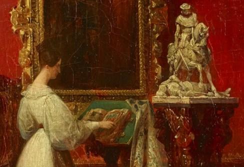 """Détail du tableau représentant Marie dans son atelier, et de sa """"Jeanne d'Arc pleurant à la vue d'un anglais blessé"""""""